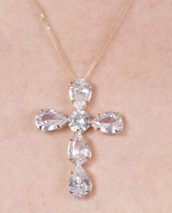 Colar dourado com pedra cristal Assunção