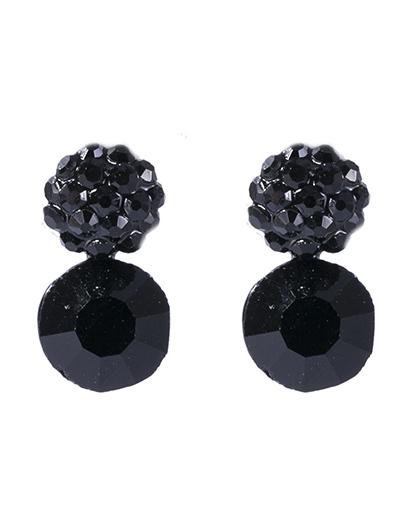 Brinco pequeno de metal preto com pedra preta bella