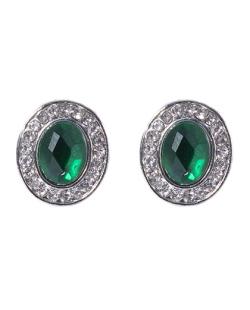 Brinco pequeno de metal prateado com pedra verde Leona