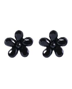 Brinco pequeno de metal preto com pedra preta Pilar