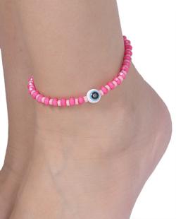 Tornozeleira de corda com pedra rosa Vivy