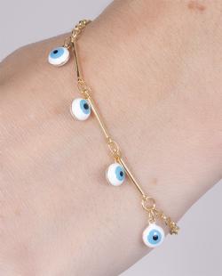 Pulseira folheada dourada com olho grego Aurea