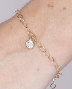 Pulseira folheada dourada com pedra cristal Cristina