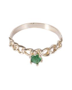 Anel folheado dourado com pedra verde Izzy