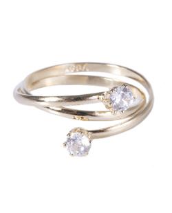 Anel folheado dourado com pedra cristal Christina