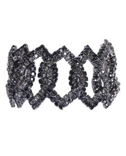 Pulseira grafite com strass preto e fumê Pri