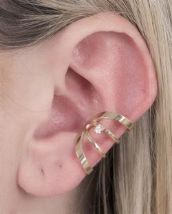 Piercing fake dourado com pedra cristal Any