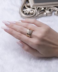 Kit 3 anéis dourado com strass cristal Gaby