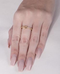 Anel dourado com strass cristal Lety