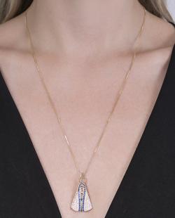 Colar dourado com strass cristal e azul Aparecida