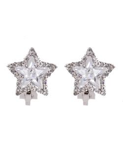 Brinco de pressão prateado com pedra cristal Star