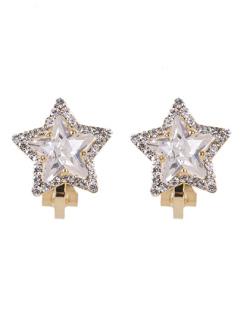 Brinco de pressão dourado com pedra cristal Star