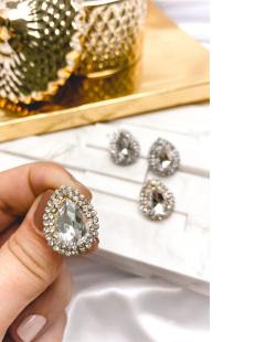 Brinco pequeno dourado com pedra cristal Camboriú