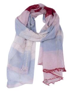 Lenço de poliéster rosa e azul Alicia