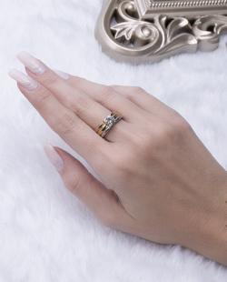 Kit 3 anéis dourado, rosé e prata com pedra cristal Maju