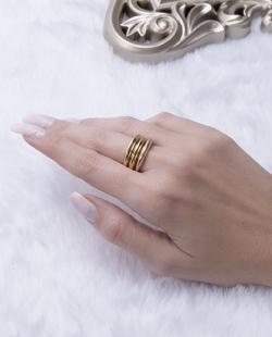 Kit 3 anéis dourado Miréia
