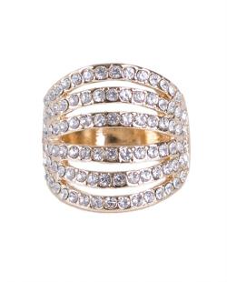 Anel dourado com strass cristal Souza