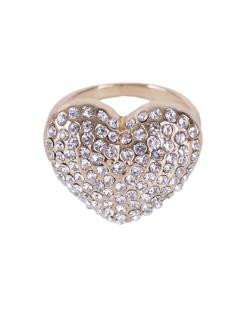 Anel dourado com strass cristal Secco