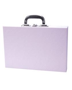 Maleta média em courino rosa com preto Léia