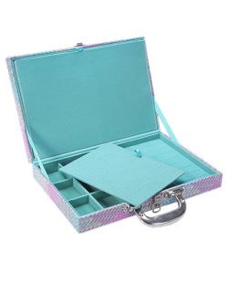 Maleta média em courino colorido com azul Tiffany