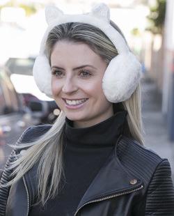 Protetor de orelhas de pelúcia branco Cat