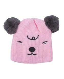 Gorro de tricô infantil rosa Ury