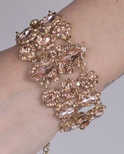 Pulseira dourada com pedra rosé Ana