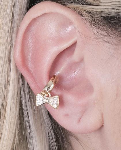 Piercing fake dourado com strass cristal Lacin