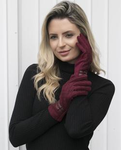 Luva de tecido bordô Anne