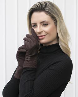 Luva de tecido marrom Anne