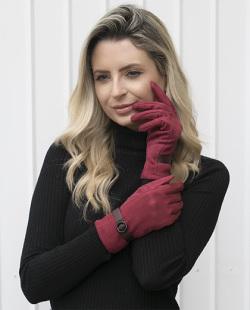Luva de tecido bordô Yasmin