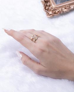 Anel folheado dourado com prata Loury