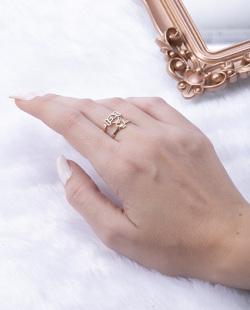 Anel folheado dourado com prata Thay