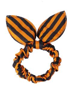 Laço de tecido listrado laranja e preto Níka