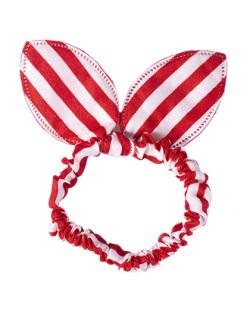 Laço de tecido listrado vermelho e branco Níka