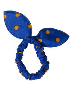 Laço de tecido poá azul Cathy