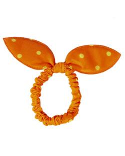Laço de tecido poá laranja Cathy