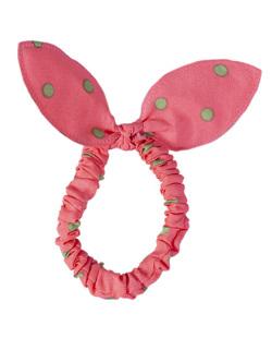 Laço de tecido poá rosa Cathy