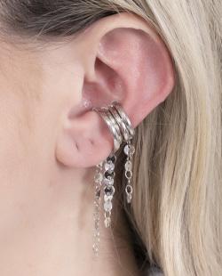 Kit 4 piercing fake prateado Bella