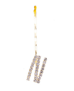 Presilha dourada com strass cristal letra N