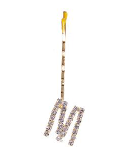 Presilha dourada com strass cristal letra M