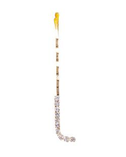 Presilha dourada com strass cristal letra L