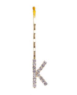 Presilha dourada com strass cristal letra K
