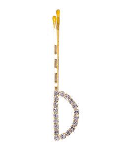 Presilha dourada com strass cristal letra D
