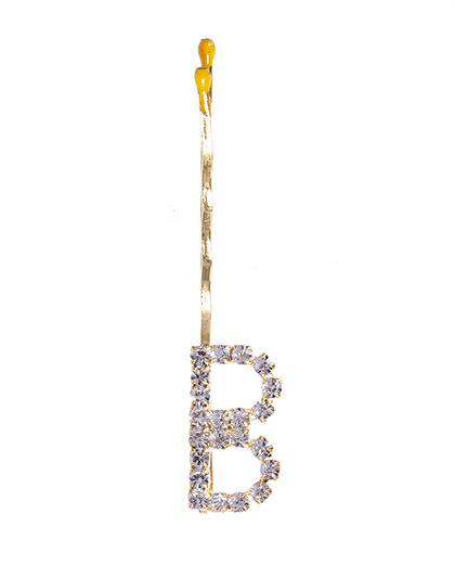 Presilha dourada com strass cristal letra B