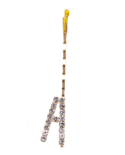 Presilha dourada com strass cristal letra A