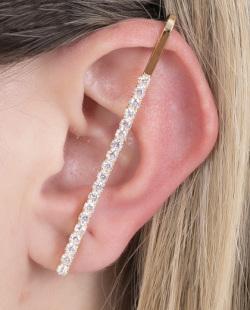 Kit piercing fake dourado com strass cristal Kyss