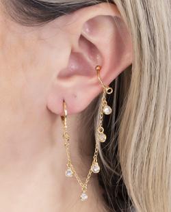 Argola folheada dourada com piercing fake e pedra cristal Cisko