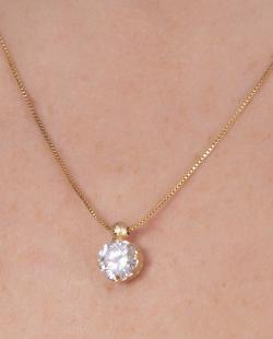 Colar folheado dourado com pedra cristal Keys