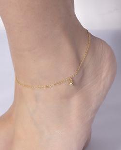 Tornozeleira folheada dourada Liz